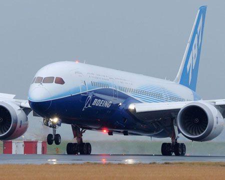 Boeing 787 landing