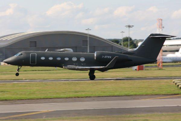 Prada's Gulfstream G450 at Farnborough Airport (Photo: Antony Pratt).