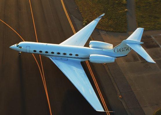 A Gulfstream G650 on the tarmac.