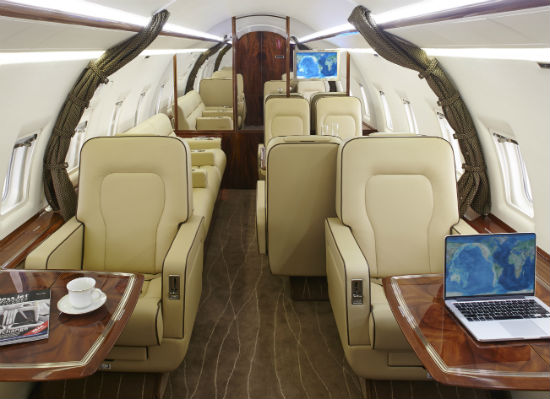 The interior of a Flying Colours' Challenger 604 business jet.