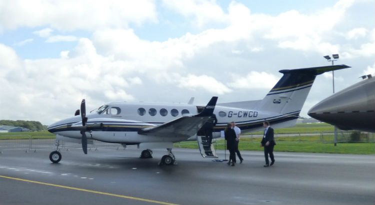 Beechcraft King Air 250 parked in display at BGAD 2015 (Credit: Terry Spruce)